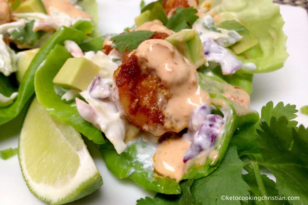 Shrimp Tacos with Bang Bang Sauce in Lettuce Wraps - Keto and Low Carb
