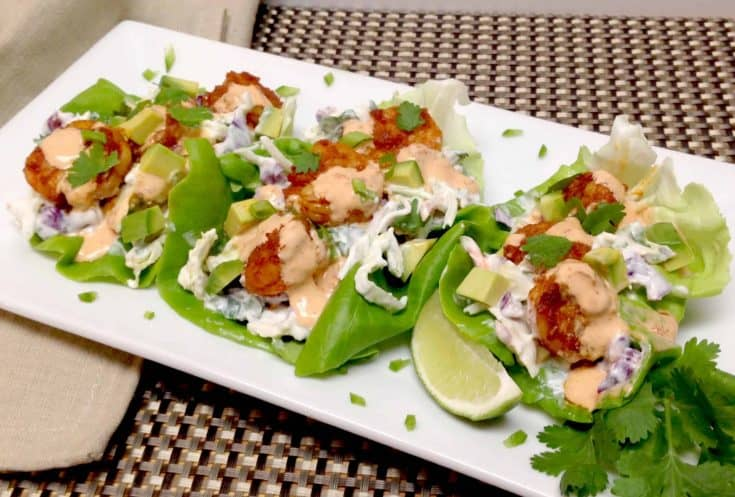 Spicy Shrimp Lettuce Wraps with Bang Bang Sauce