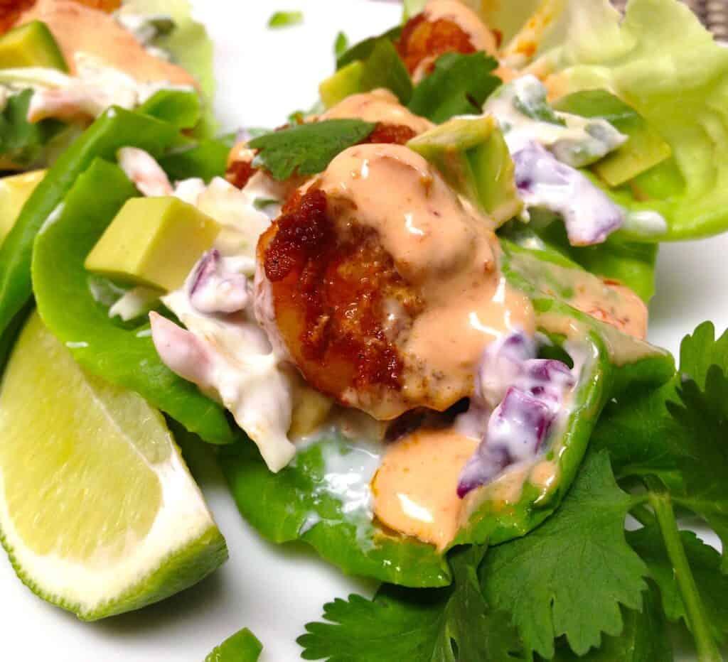 closeup of shrimp lettuce cups on plate
