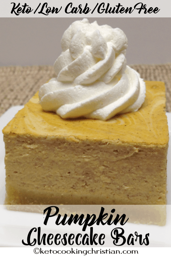 Pumpkin Vanilla Swirl Cheesecake Bars - Keto, Low Carb and Gluten Free