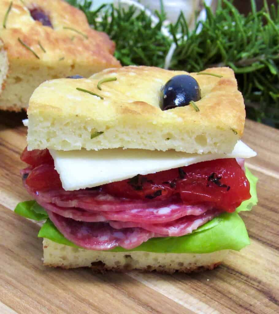 Rosemary Focaccia sandwich with cold cuts and lettuce