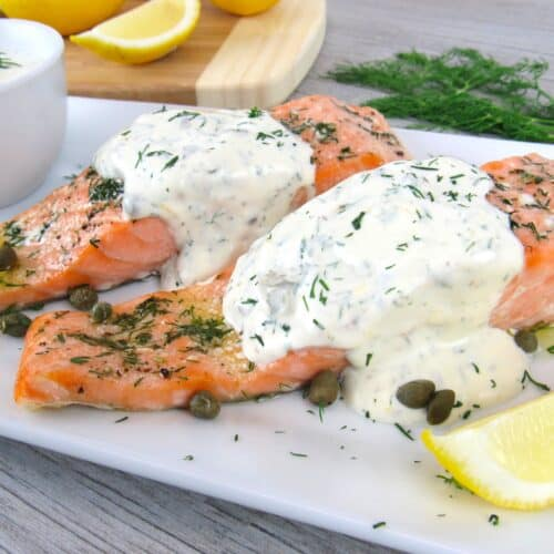 2 pieces of salmon on white plate