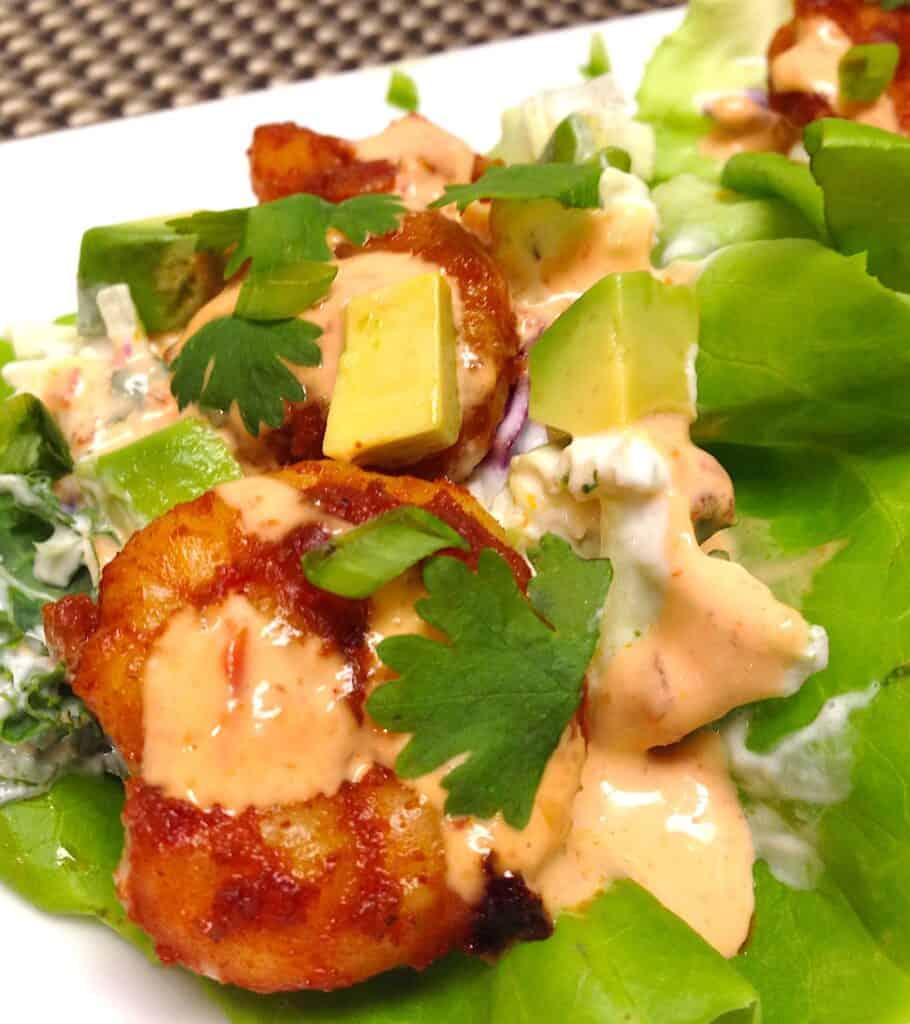 shrimp lettuce wraps on plate closeup