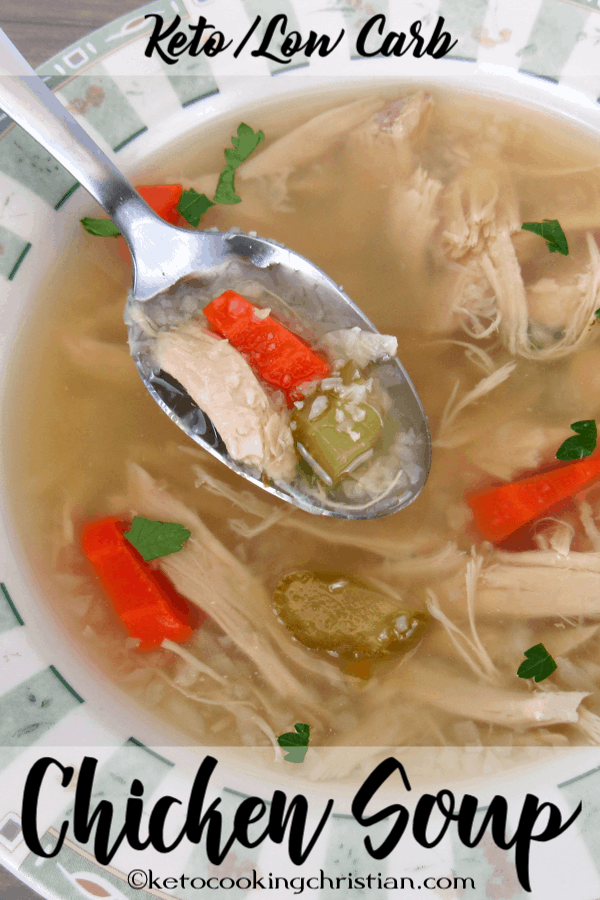Chicken Soup with Cauliflower Rice - Keto and Low Carb