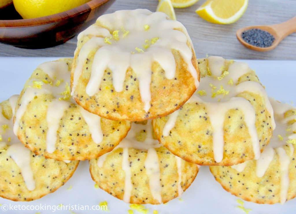 Lemon Poppy Mini Bundt Cakes with Lemon Glaze - Keto, Low Carb & Gluten Free