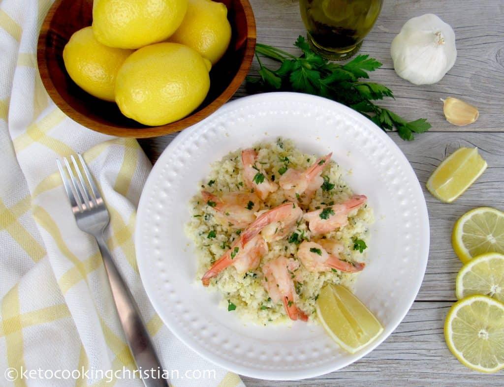 Shrimp Scampi over Cauliflower Rice - Keto and Low Carb