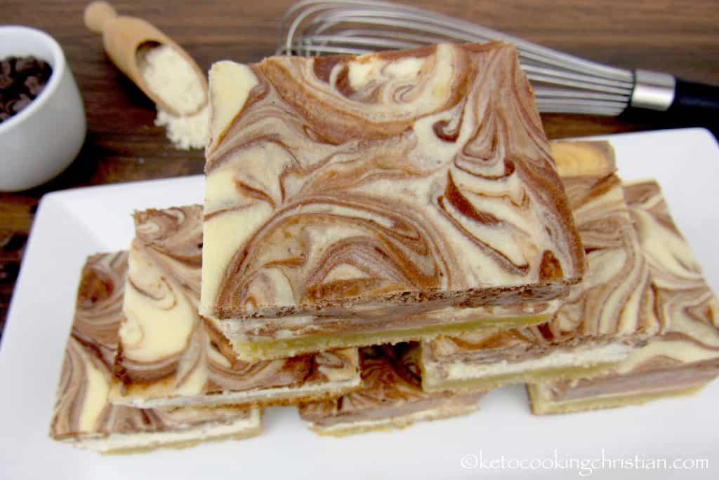 Vanilla and Chocolate Swirl Cheesecake Bars - Keto, Low Carb & Gluten Free
