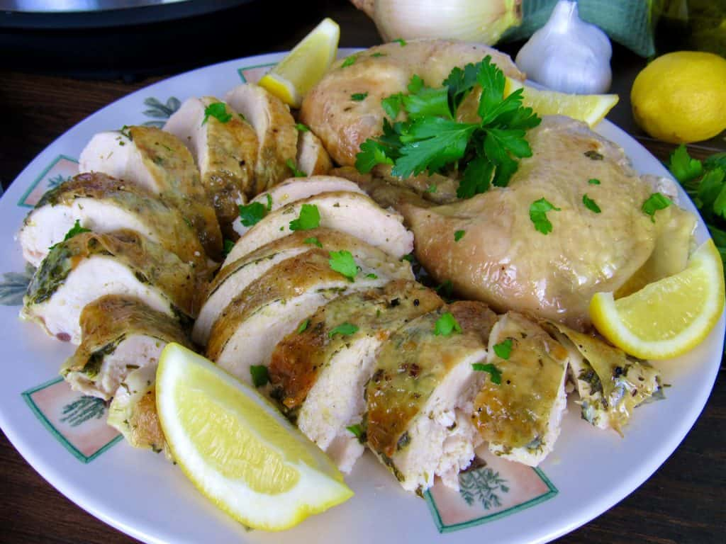 roasted chicken cut up on plate