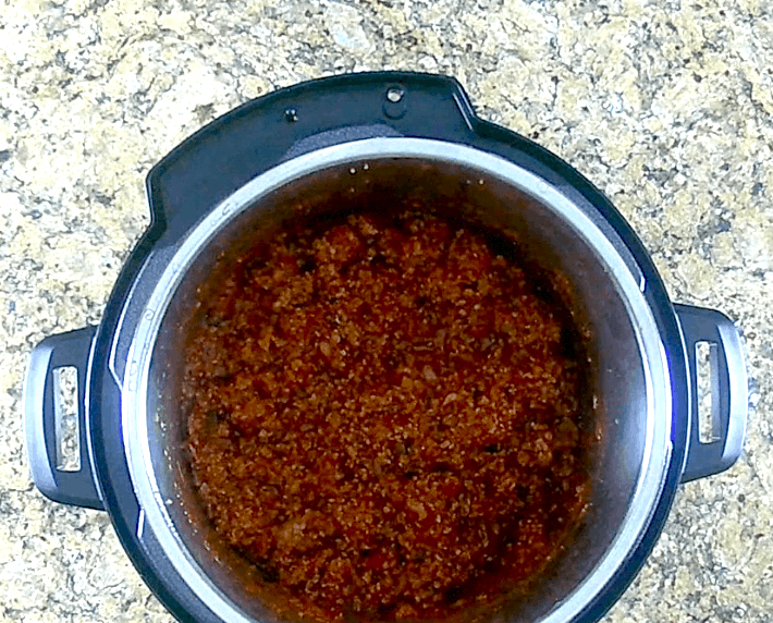instant pot chili in pot