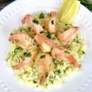 overhead view of Keto Shrimp Scampi in white dish