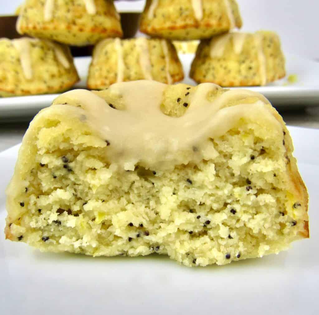 closeup of lemon poppy cake cut open