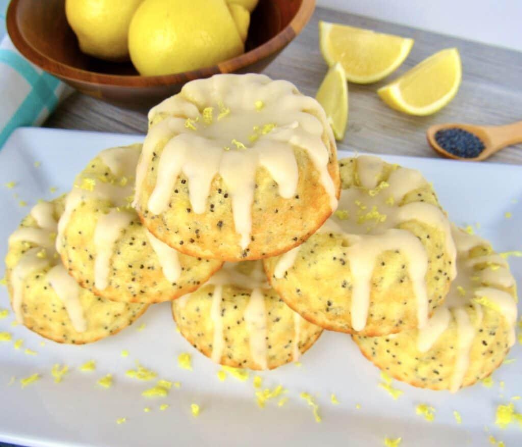 stack of lemon poppy cakes