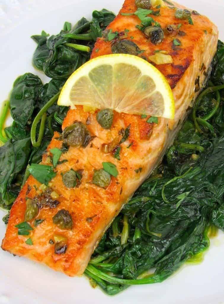 salmon piccata over spinach