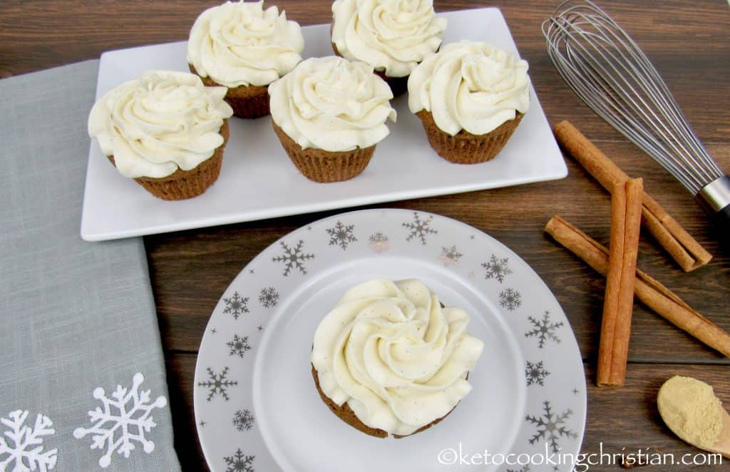 Gingerbread Cupcakes with Cream Cheese Frosting - Keto, Low Carb & Gluten Free