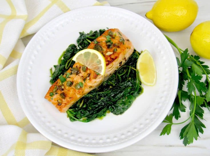 Easy Salmon Piccata with Spinach