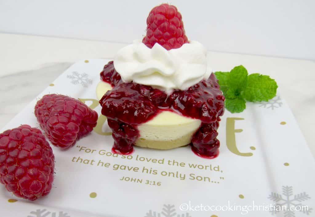 Mini Cheesecakes with Raspberry Sauce - Keto, Low Carb & Gluten Free