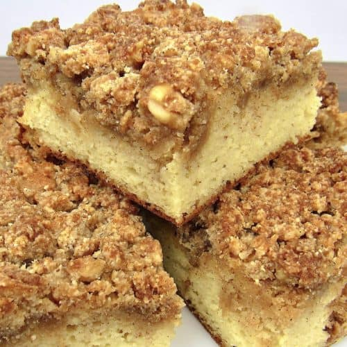 Keto Coffee Cake cut into slices stacked up