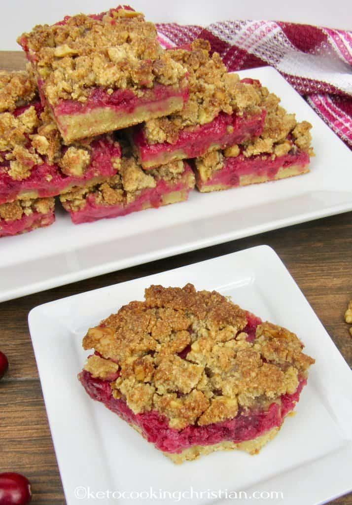 Cranberry Walnut Crumble Bars Keto, Low Carb & Gluten Free