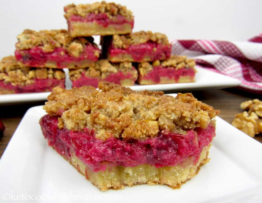 Cranberry Walnut Crumble Bars - Keto, Low Carb & Gluten Free