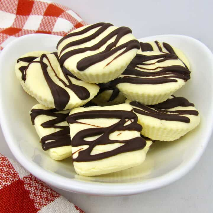 cheesecake fat bombs stacked in bowl