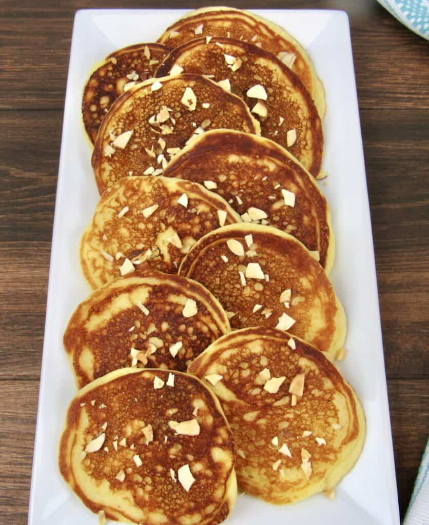 long plate with pancakes staggeered