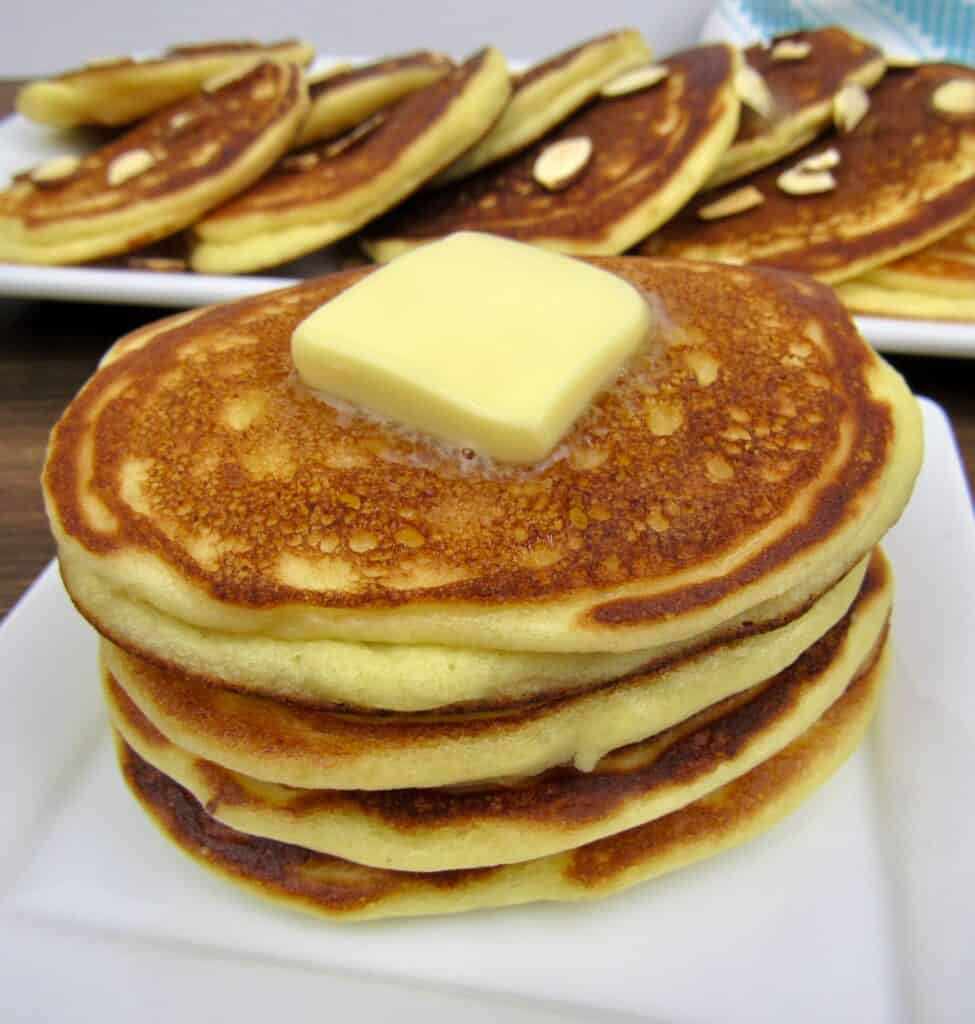 stack of pancakes with pat of butter on top
