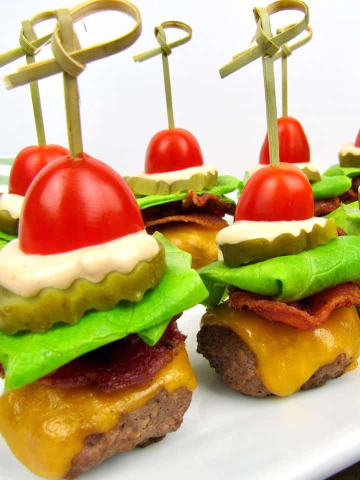closeup of Bacon Cheeseburger Bites on white plate