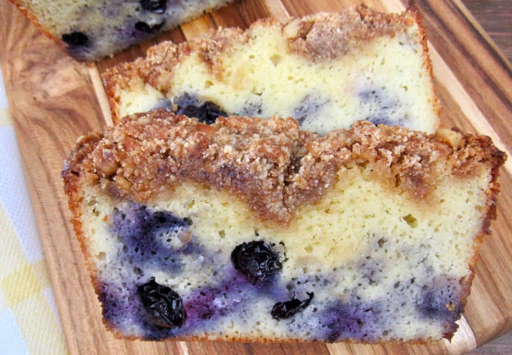 Blueberry Crumb Loaf on cutting board