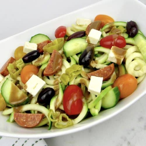 Zoodle Pasta Salad in white bowl