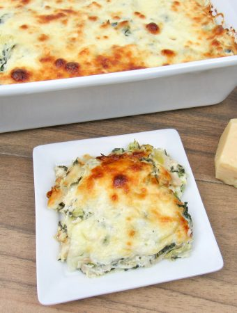 Spinach Artichoke Chicken Casserole- Keto and Low Carb