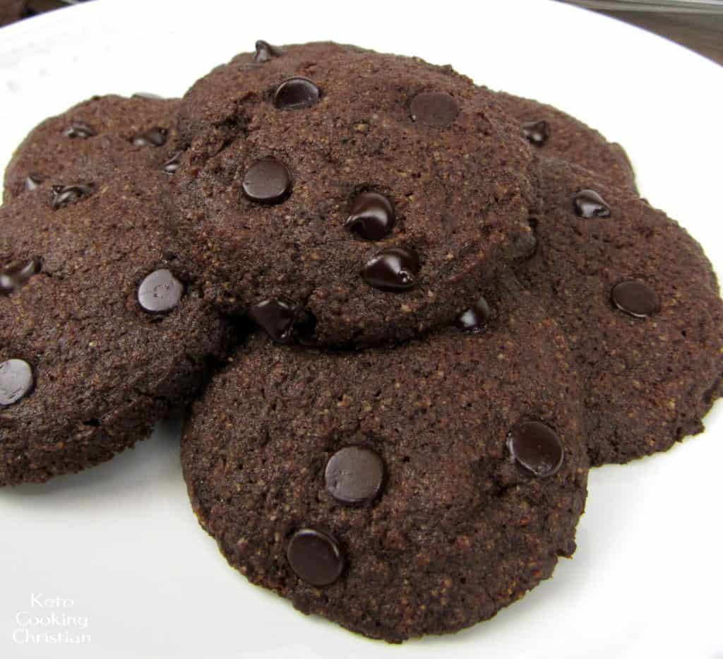 Close Up of Double Chocolate Chip Cookies - Keto, Low Carb & Gluten Free