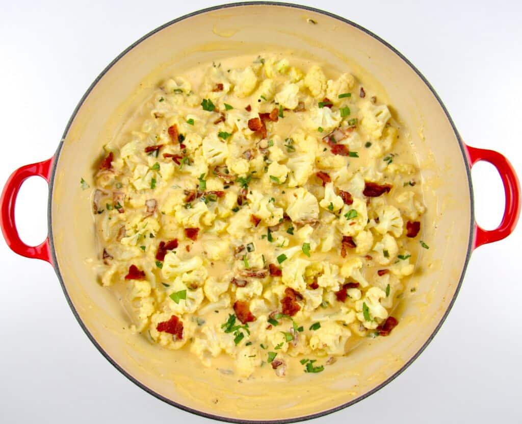 Jalapeño Popper Cauliflower in skillet