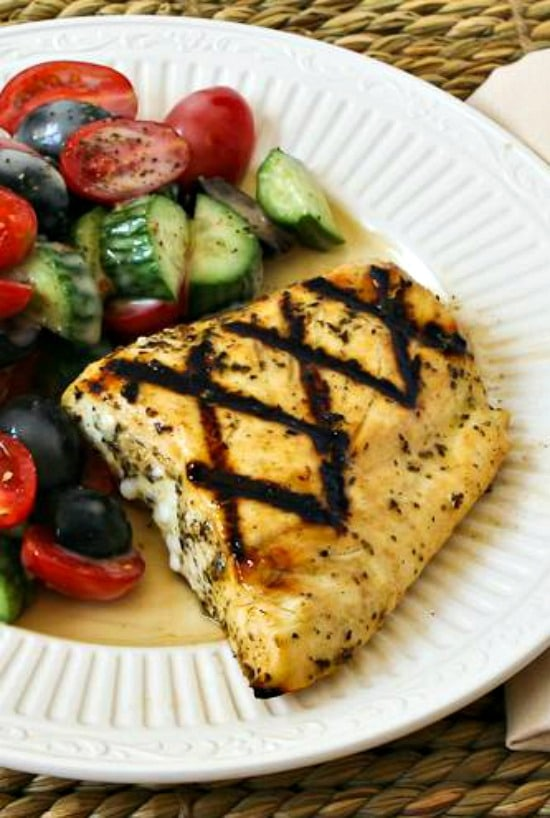 Grilled Fish with Garlic, Basil, and Lemon