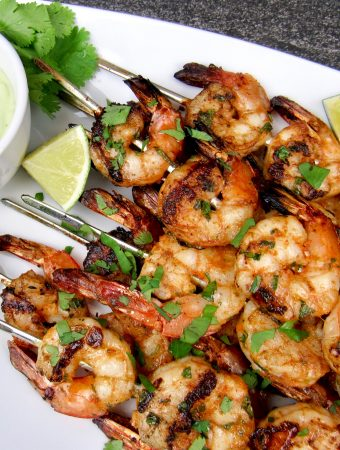 Grilled Lime Cilantro Shrimp Skewers - Keto and Low Carb