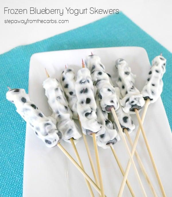 Frozen Blueberry Yogurt Skewers