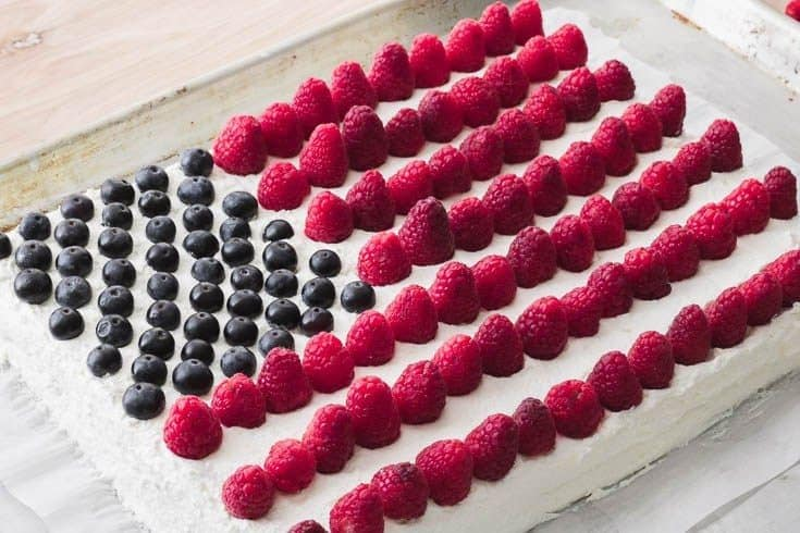 Low-Carb Fun Flag Cake (low-carb, gluten-free, nut-free, keto) Recipe | I Dream of Food | Low Carb and Keto Recipes and Resources
