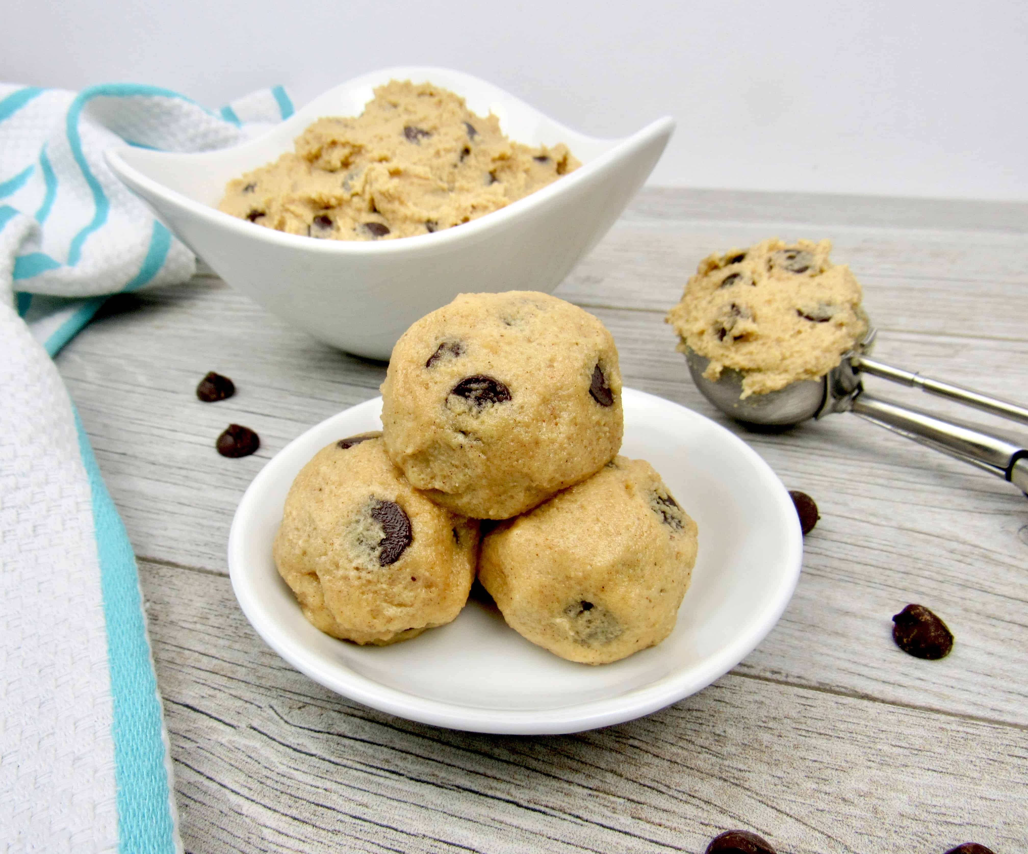 Edible Cookie Dough in Balls on Plate and in Bowl