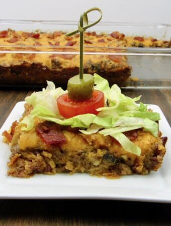 Bacon Cheeseburger Casserole and slice on plate