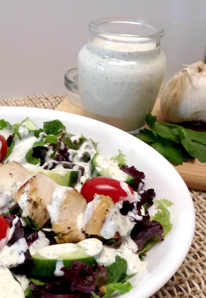 creamy garlic dressing over chicken salad
