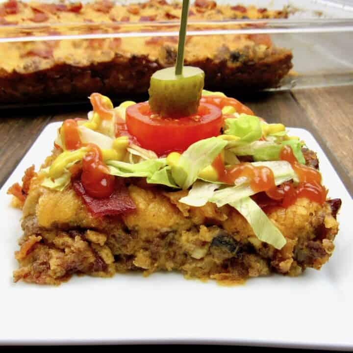 Keto/Low Carb Bacon Cheeseburger Casserole slice on plate