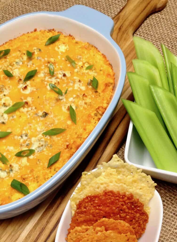 Buffalo Chicken Dip in casserole dish - Keto and Low Carb