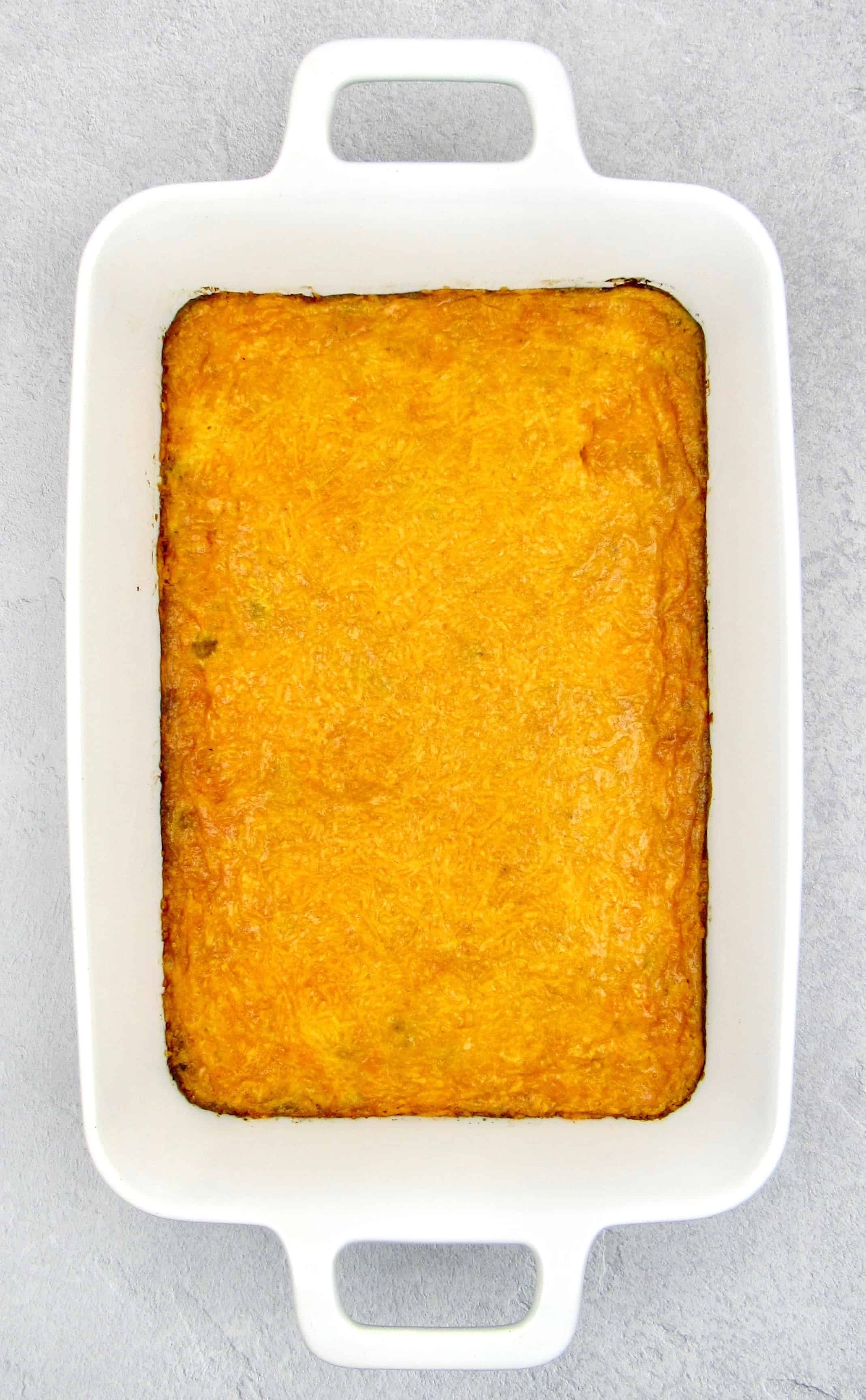 taco casserole baked with cheese on top