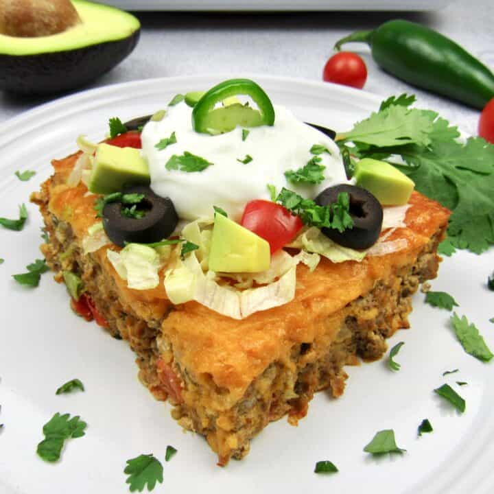 slice of taco casserole closeup
