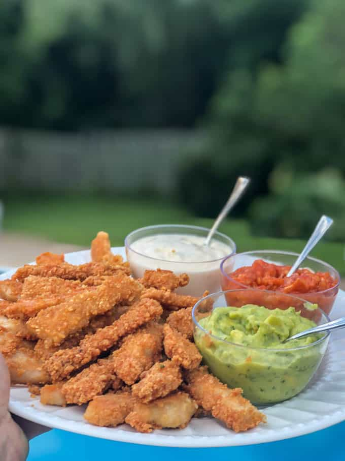 Fried Pork Chops Strips & Dipping Sauces