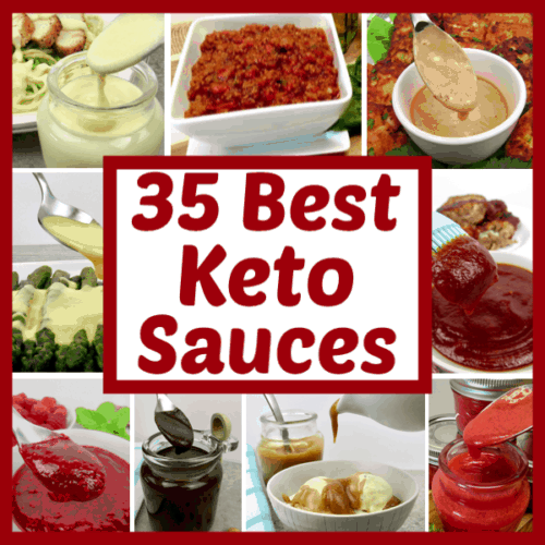 collage of different keto sauces