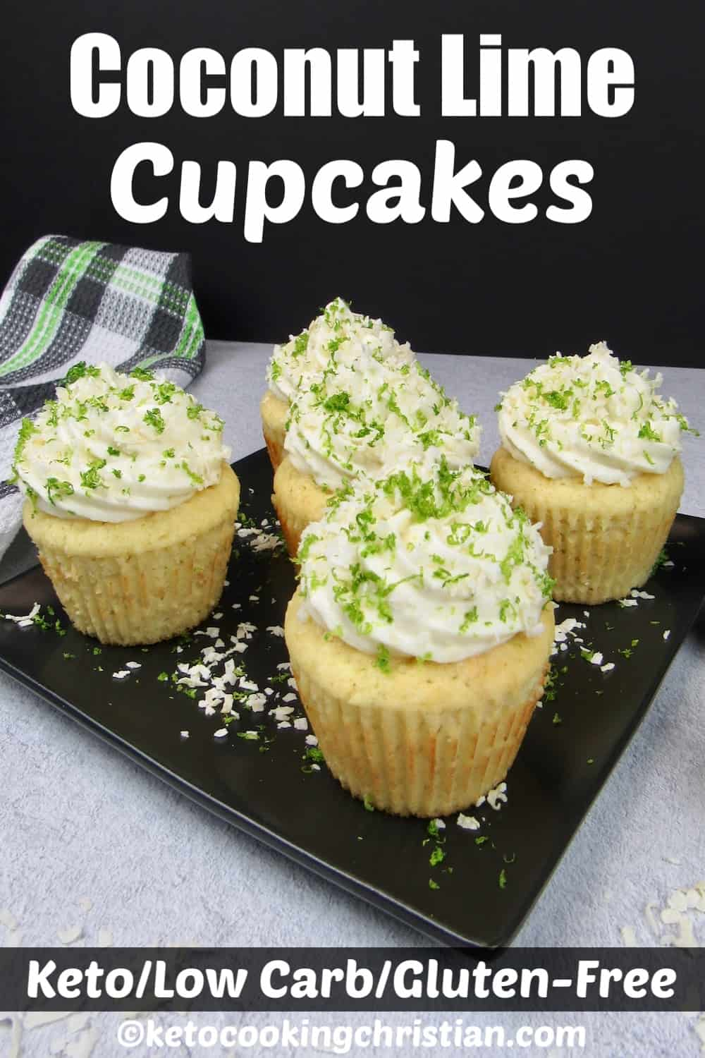 5 coconut lime cupcakes on a black square plate with frosting, lime zest and coconut flakes