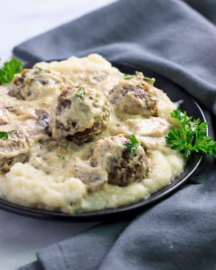 Keto Savory Smothered Meatballs