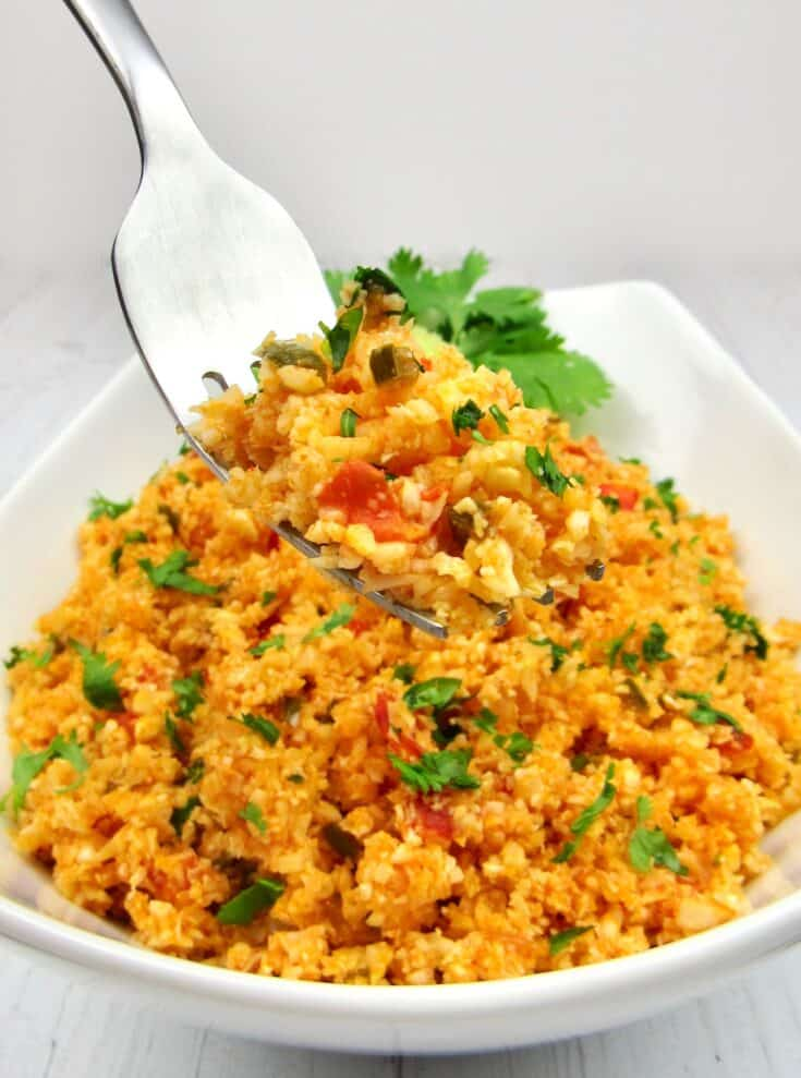 Mexican cauliflower rice, easy keto side dish