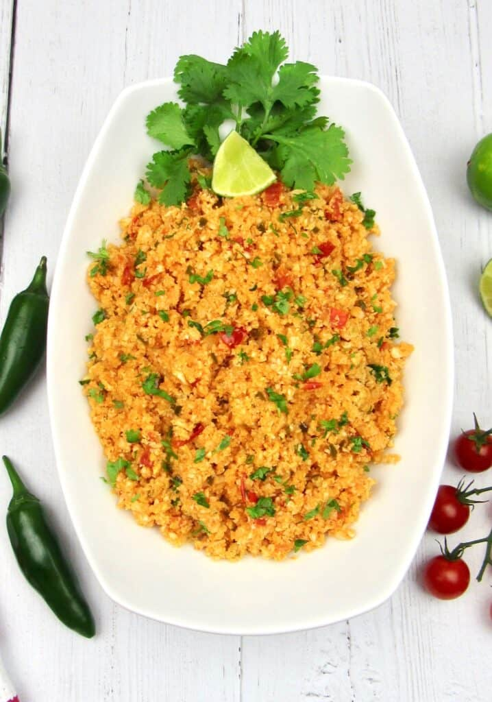 Overview of Mexican Cauliflower Rice in Bowl