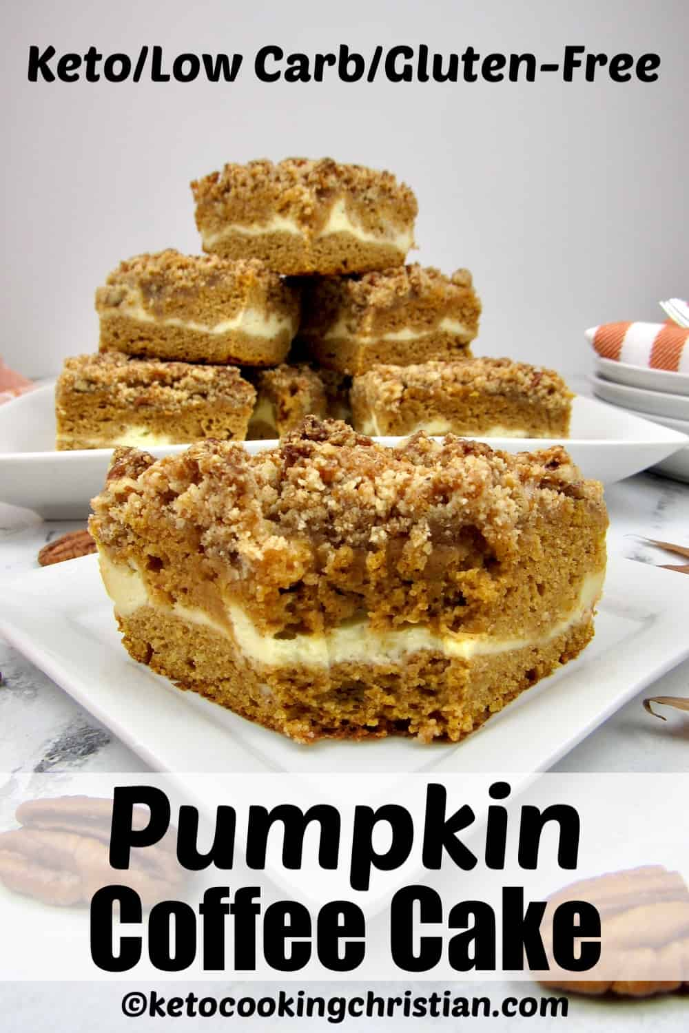 stacked slices of pumpkin coffee cake with closeup of a slice with a bite taken out